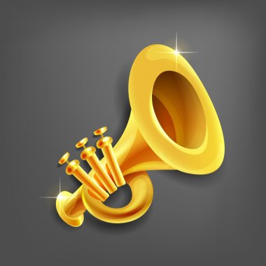Cartoon trumpet. illustration.