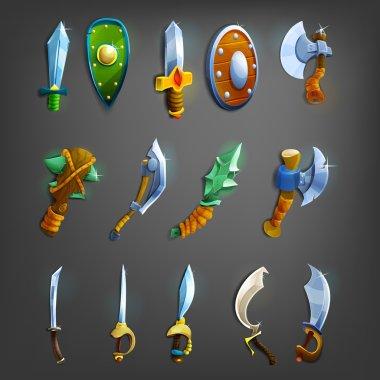 Set of cartoon weapons.