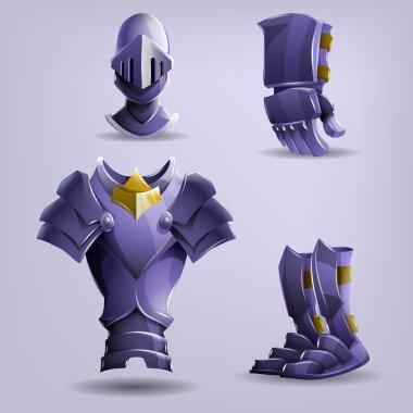 Cartoon Set of Knight's armor. Vector illustration. stock vector