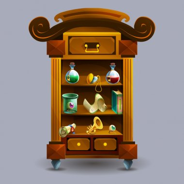 cartoon cupboard with potions