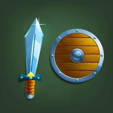 Cartoon sword and shield.