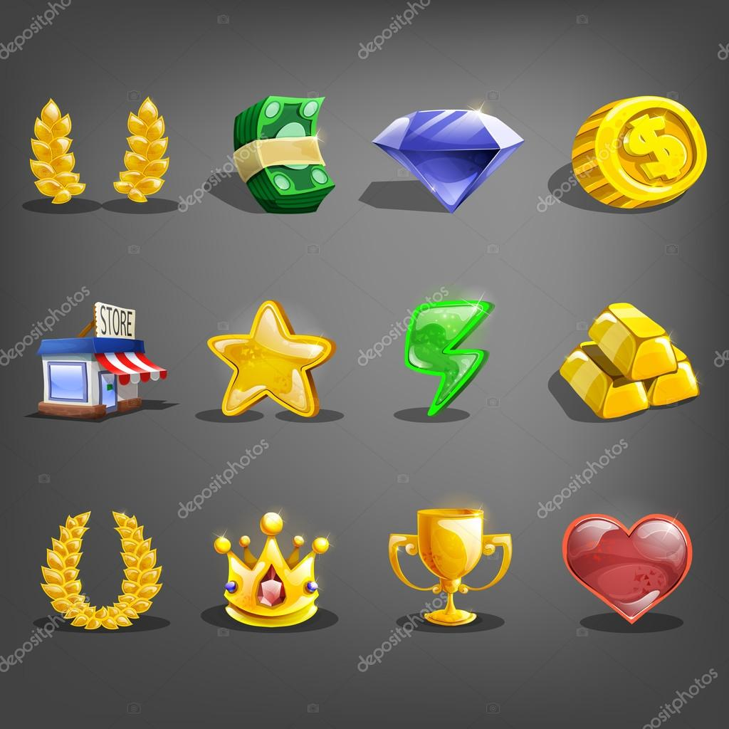 Decoration icons for games. collection of symbols. Vector illustration. stock vector