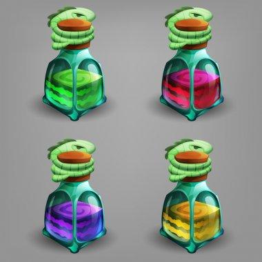 Cartoon bottles of potion.