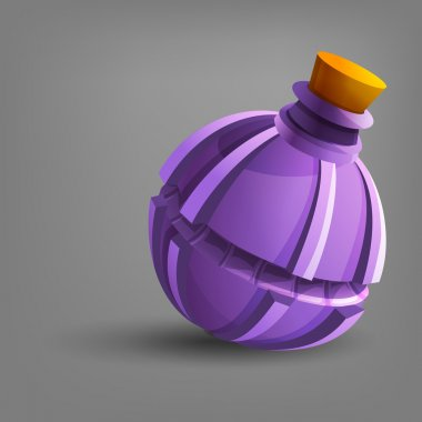 Medieval flask on gray background