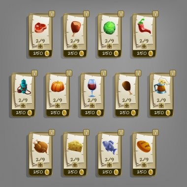 set of food icons for games