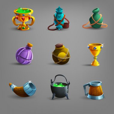 Set of medieval vessel icons.