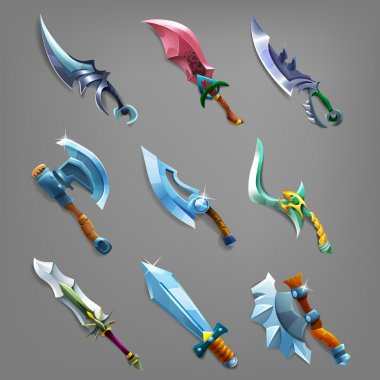 Set of old cartoon weapons.