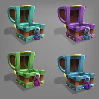 Empty treasure chest set.