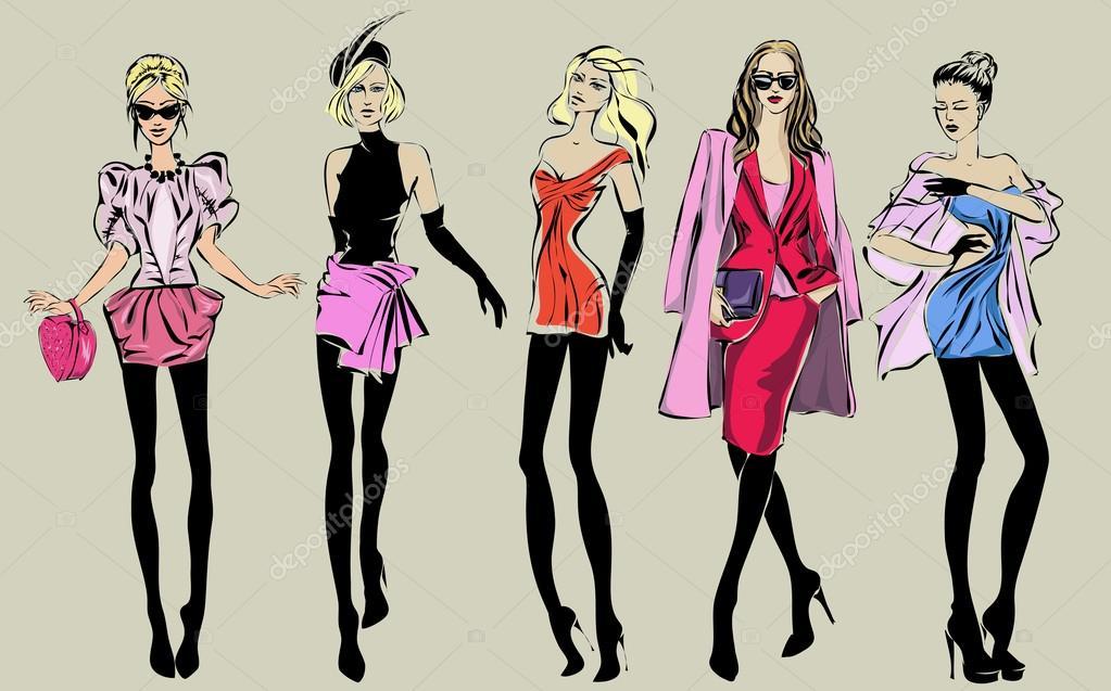 Modelos De Mulher A Moda Rua No Estilo Desenho Vetores Stock