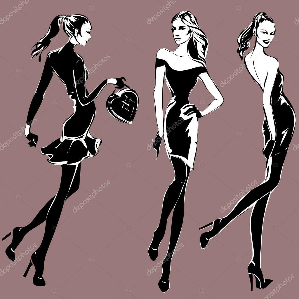 Black And White Fashion Woman Models In Sketch Style Stock