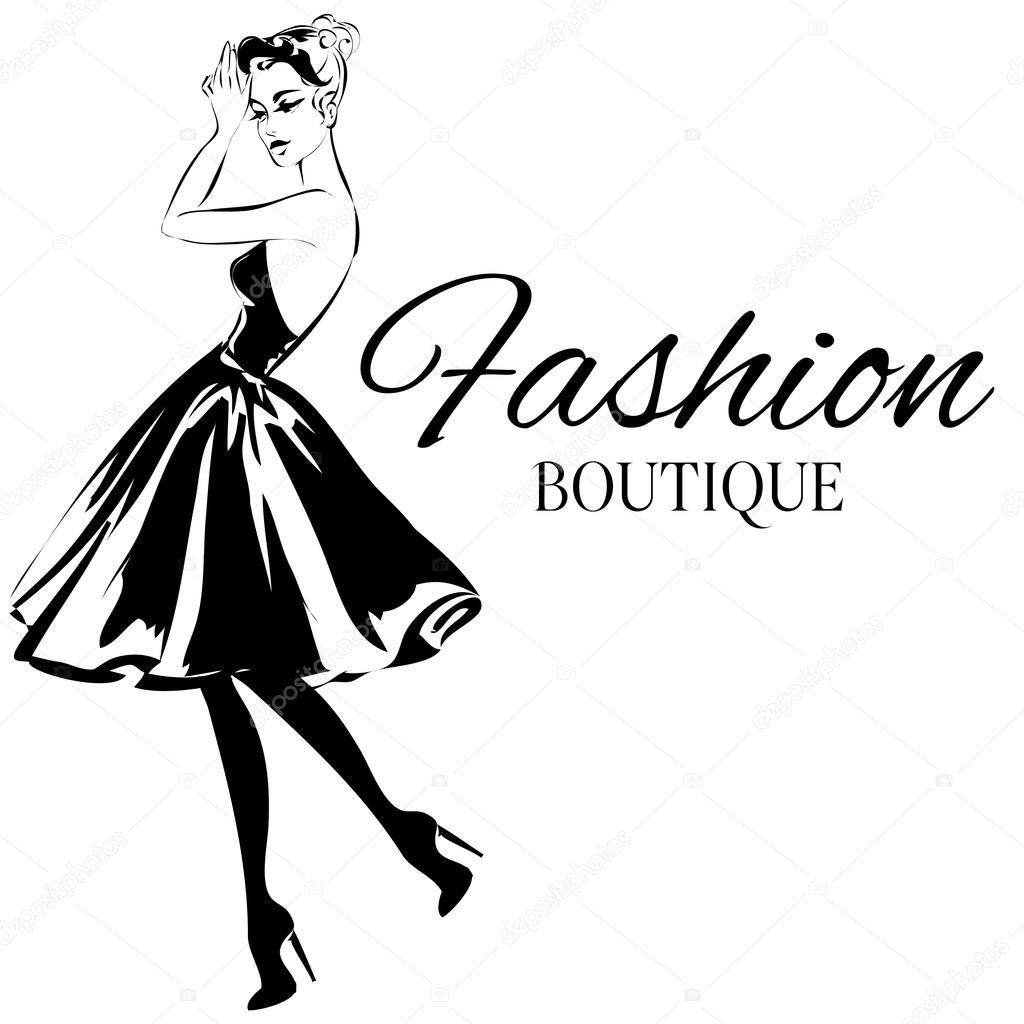 fashion boutique logo with black and white woman silhouette vector 20th Century Clothing fashion boutique logo with black and white woman silhouette vector stock vector