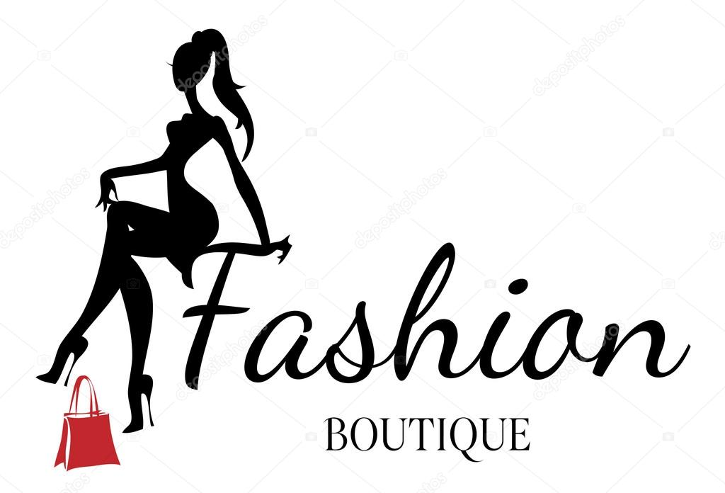 Fashion boutique logo with black and white woman ...