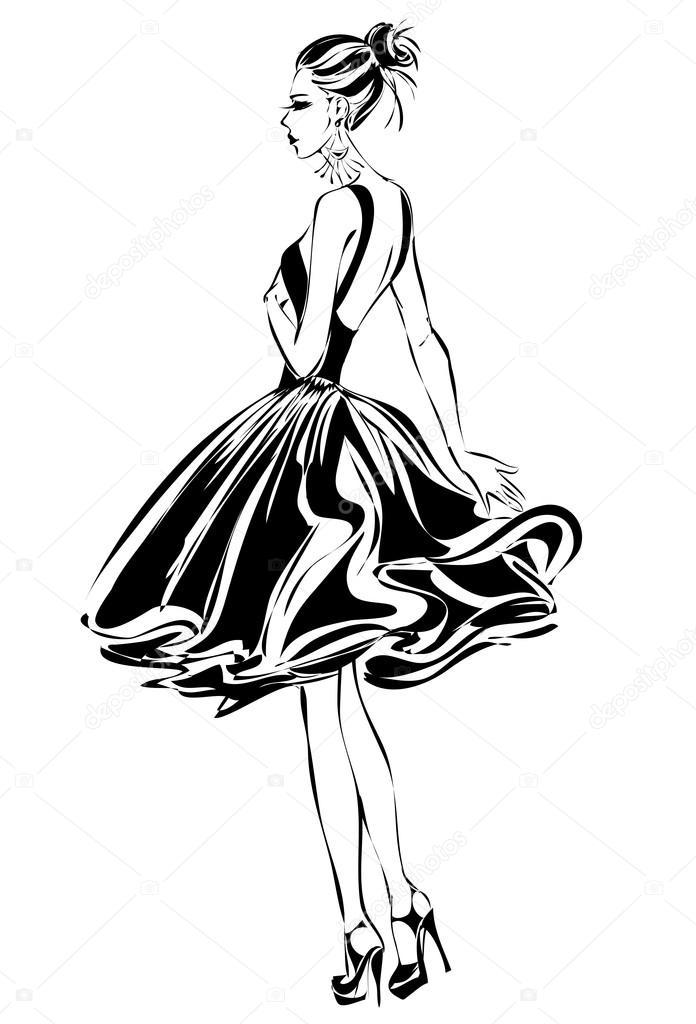 Schwarz Weiß Retro Mode Woman Modell Hand Gezeichnet Vektor