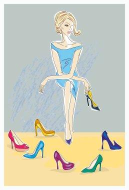 Fashion girl in blue dress