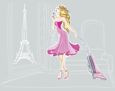 Fashion girl with vacuum in Paris Apartment