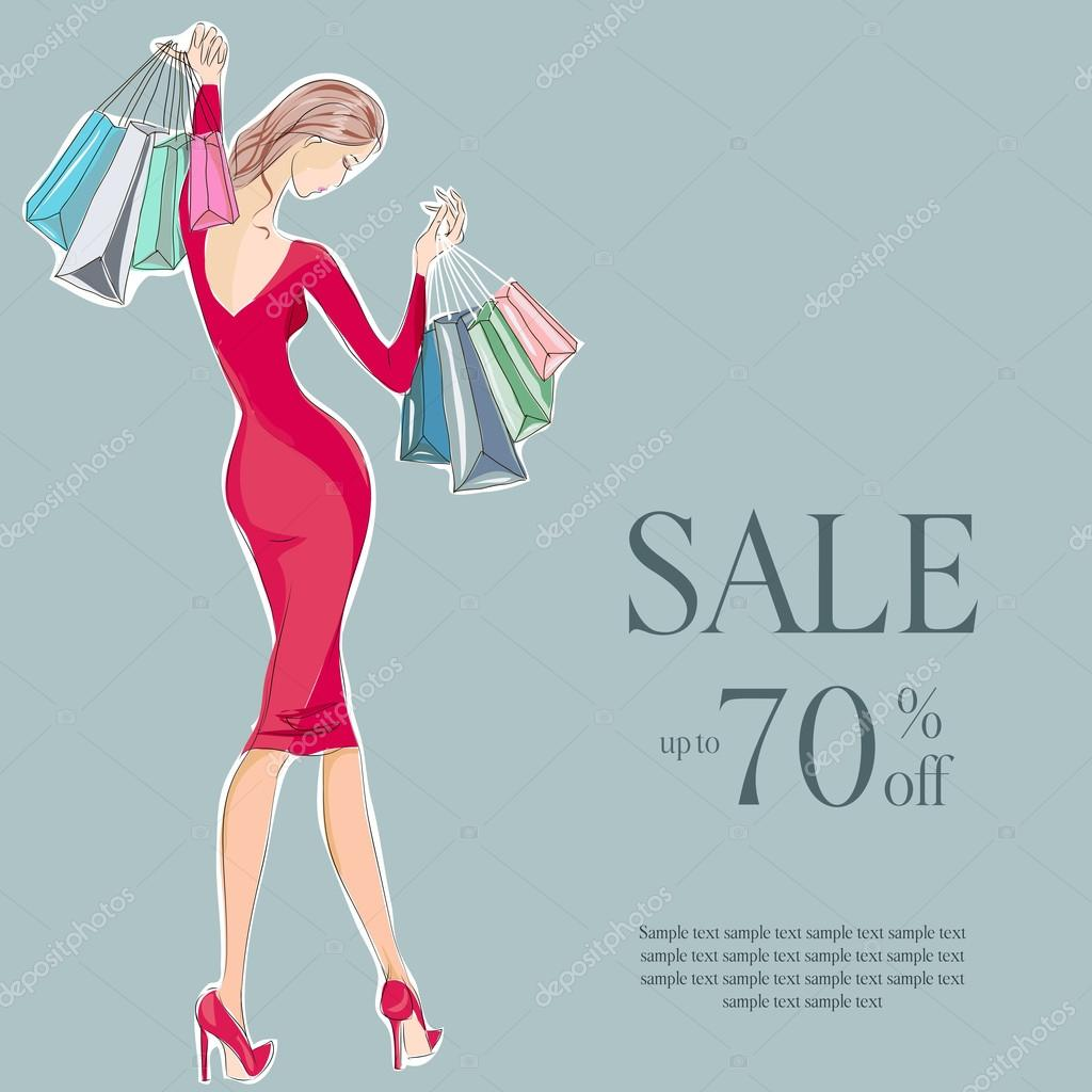 Девушка в платье с покупками