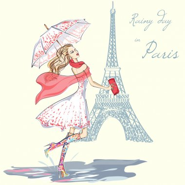 Fashion girl rainy day in Paris