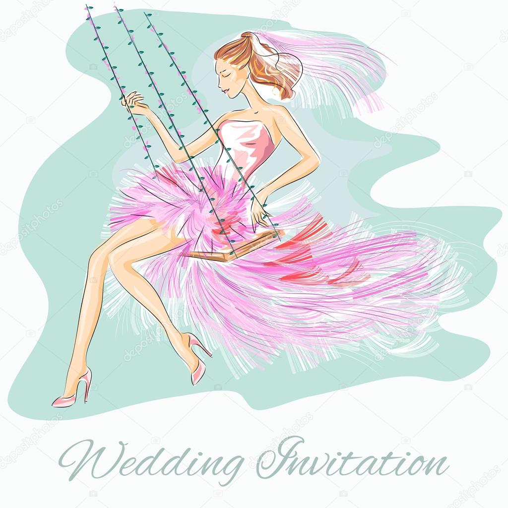 Wedding Day invitation with beautiful fiancee on a swing