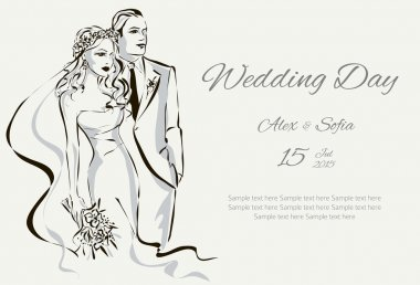 Wedding Day invitation with sweet couple vector illustration clip art vector