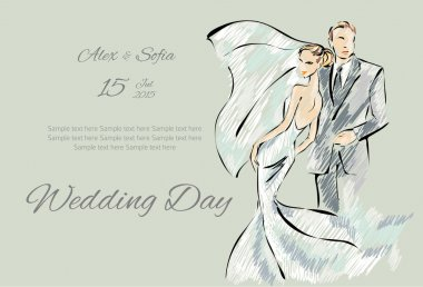 Wedding Day invitation with sweet couple