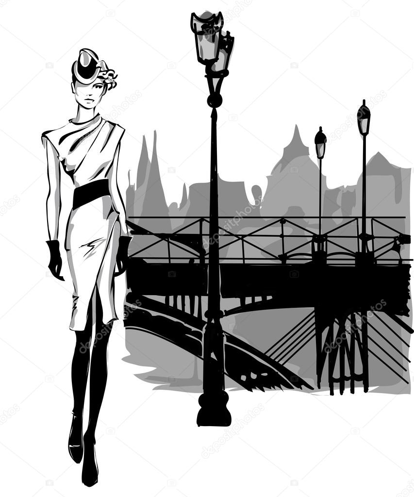 Line Drawings From D Models : Fashion models in sketch style fall winter with paris city