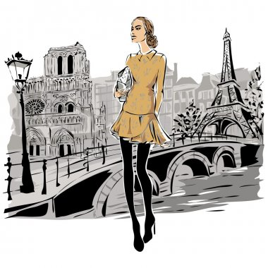 Fashion models in sketch style fall winter with Paris city background. Hand drawn vector illustration clip art vector