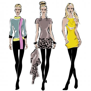 Fashion models in sketch style fall winter