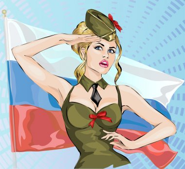 Sexy girl in military uniform with russian national flag background