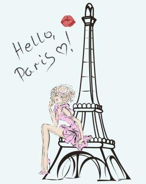 Hello, Paris. Fashion girl near Eiffel Tower