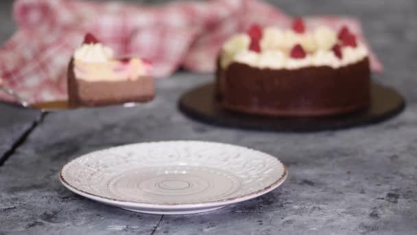Kousek čokoládového malinového tvarohového koláče se šlehačkou.
