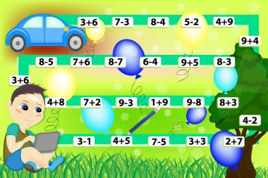 Mathematical game. Calculate the examples. Educational games for kids clip art vector