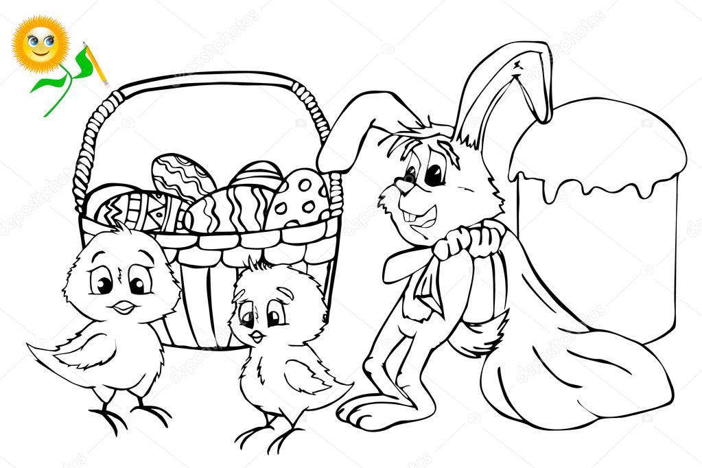 Coloring book. Easter. Coloring Book or Page Cartoon Vector ...