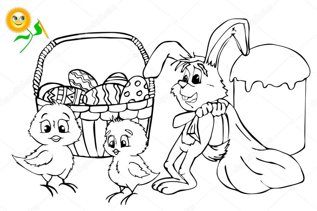 Boyama Kitabı Paskalya Boyama Kitabı Veya Sayfa Karikatür Vektör