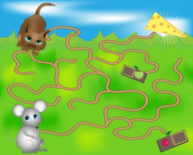 Children's maze with the mouse and cat