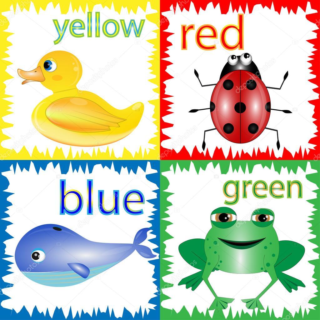 Ilustración de dibujos animados de colores primarios con animales ...
