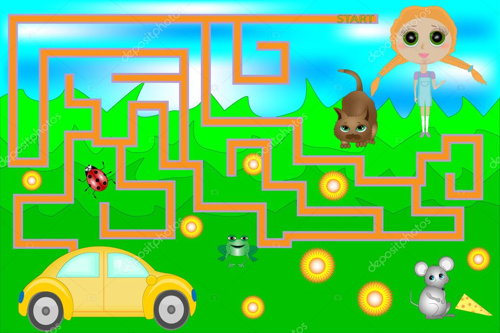 Maze Game with Car and Girl