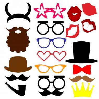 mustaches, lips, eyeglasses, crown, beard, horns, hat, tie silhouettes and design elements for party props isolated on white background