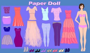 Paper doll of beautiful girl with  fashion clothes