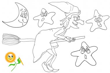 Coloring book witch flying on broom.