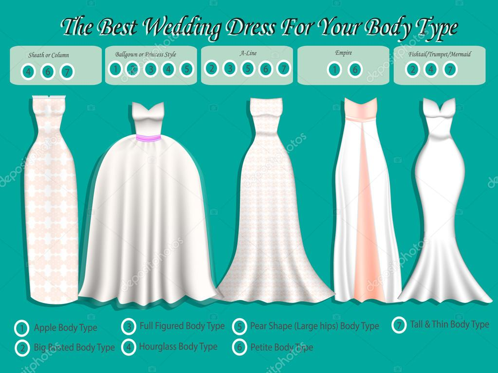 Wedding dress for body type wedding dress infographic set of wedding dress for body type wedding dress infographic set of wedding dress styles junglespirit Image collections