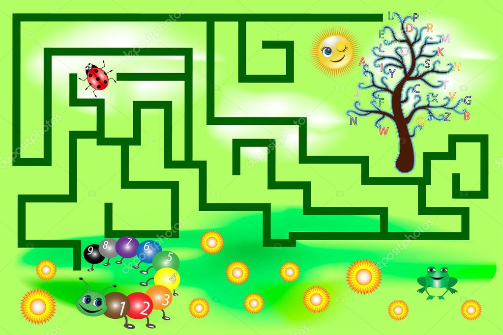 Maze for kids with letters and numbers