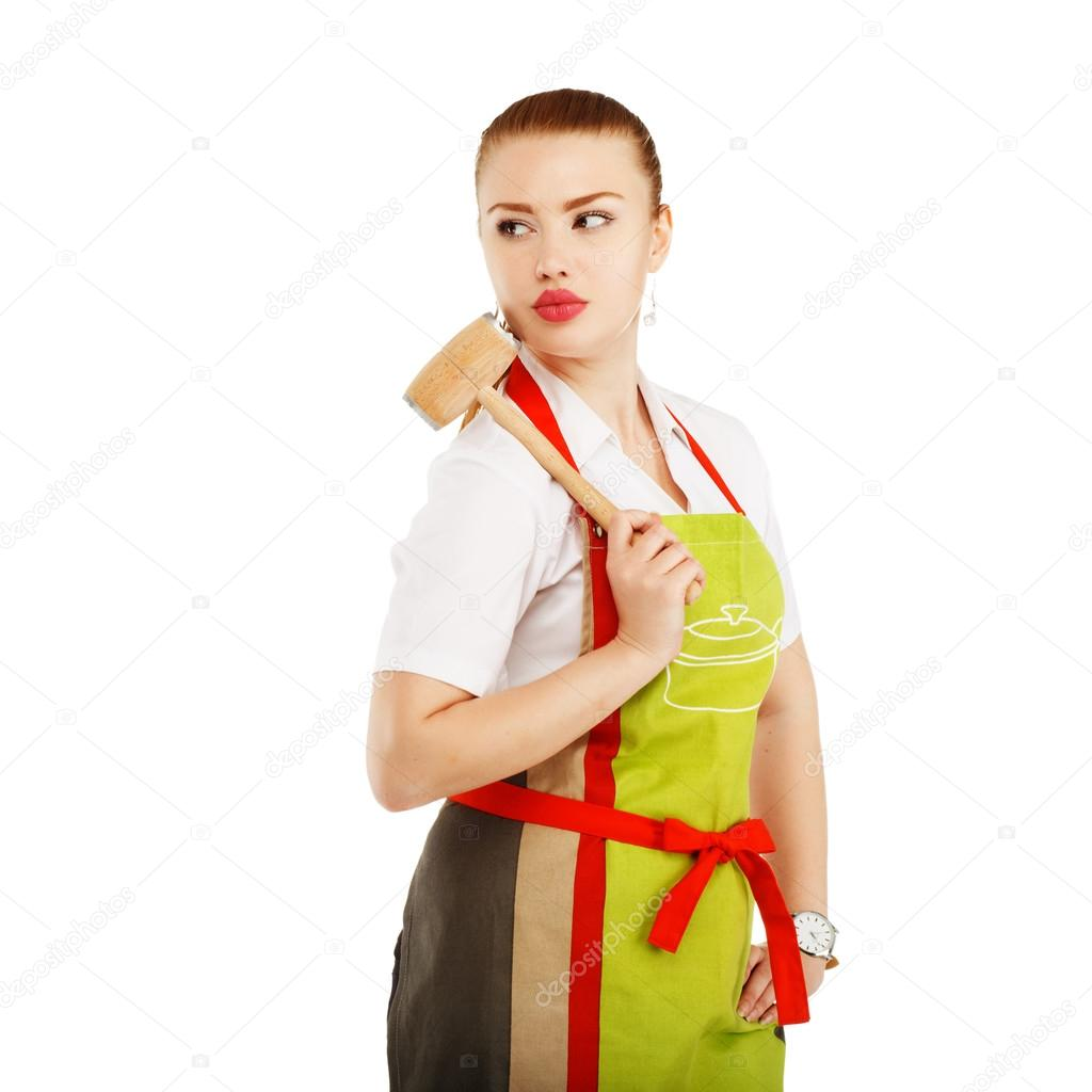 White apron meats - Angry Housewife With A Meat Hammer In Her Hands Sexy Housewife Or Baker Chef Wearing Kitchen Apron Holds Meat Hammer Isolated On White Background Photo