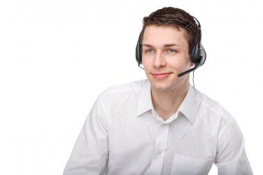 Portrait of male customer service representative or call center