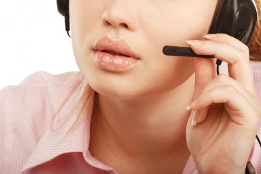 Closeup portrait of female customer service representative or ca