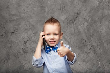 Portrait of a cute little boy in blue shirt and bow tie with mob