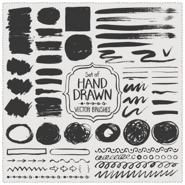 Set of hand drawn vector brushes. Grunge brush strokes.
