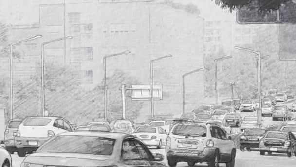 Autó forgalmi dugó a város-stop motion. Rajzstílus animáció. Motorkerékpár-átmenet.