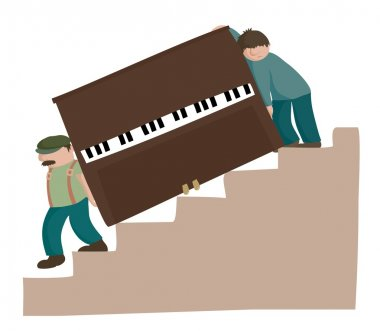 Moving a piano downstairs