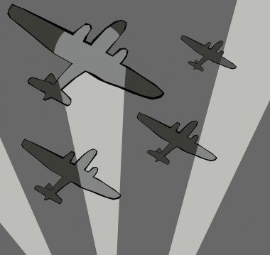 Bomber aircraft in searchlights