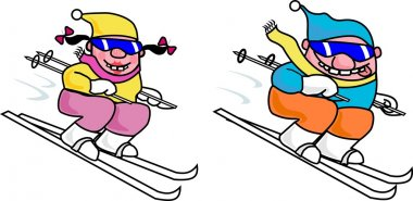 Male and female skiers